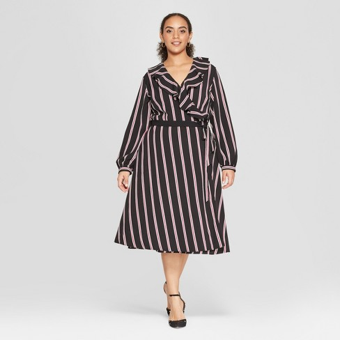 Women\'s Plus Size Striped Long Sleeve Ruffle Wrap Midi Dress - Who ...
