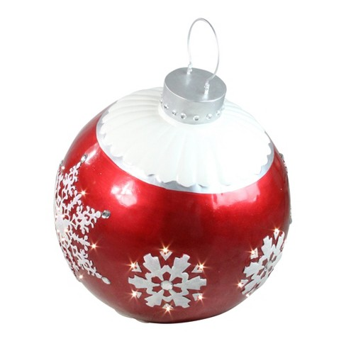 """Northlight 26.5"""" LED Lighted Red Ball Christmas Ornament With Snowflake Outdoor Decoration : Target"""