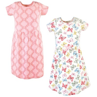 Touched by Nature Big Girls and Youth Organic Cotton Short-Sleeve Dresses 2pk, Butterflies