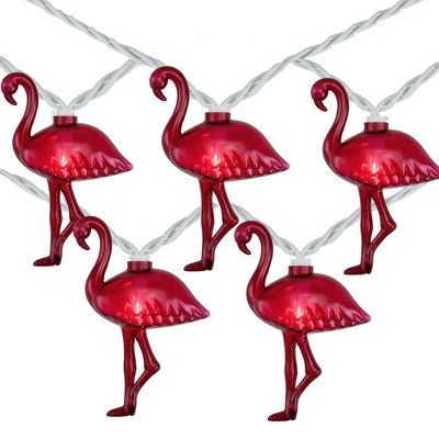 Northlight 10-Count Pink Flamingo Summer Patio String Light Set, 7.25ft White Wire