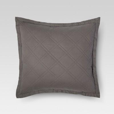 Dark Gray Quilted Pillow Sham (Euro)- Threshold™