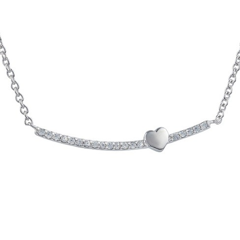 3/8 CT. T.W. Round-cut CZ Heart Pave Set Necklace in Sterling Silver - Silver - image 1 of 2