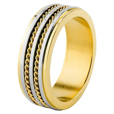Men's West Coast Jewelry Goldplated Stainless Steel Grooved and Double Twisted Rope Inlay Band Ring