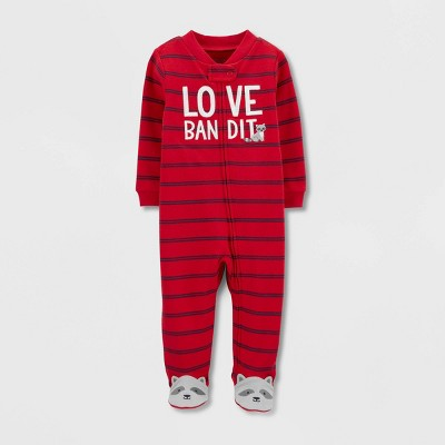 Baby Boys' Love Bandit Interlock Sleep 'N Play 1pc Pajama - Just One You® made by carter's Red Newborn