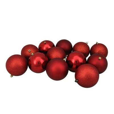 "Northlight 12ct Shatterproof 4-Finish Christmas Ball Ornament Set 4"" - Red"