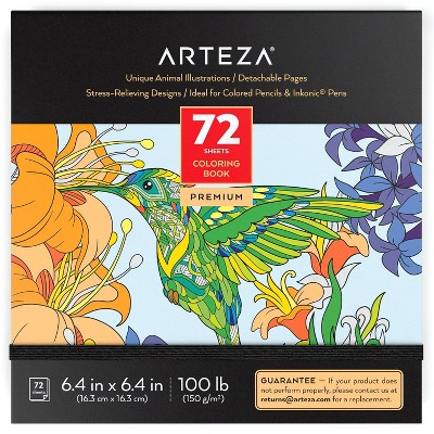 Arteza Coloring Book, Animal Illustrations, Black Outlines, for Kids or Adults - 72 sheets