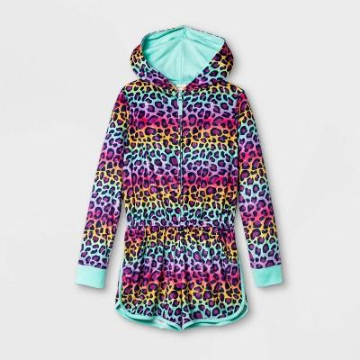Girls' Rainbow Leopard Print Pajama Romper - Cat & Jack™ Pink