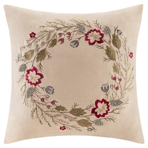 Tan Floral Throw Pillow - image 1 of 1