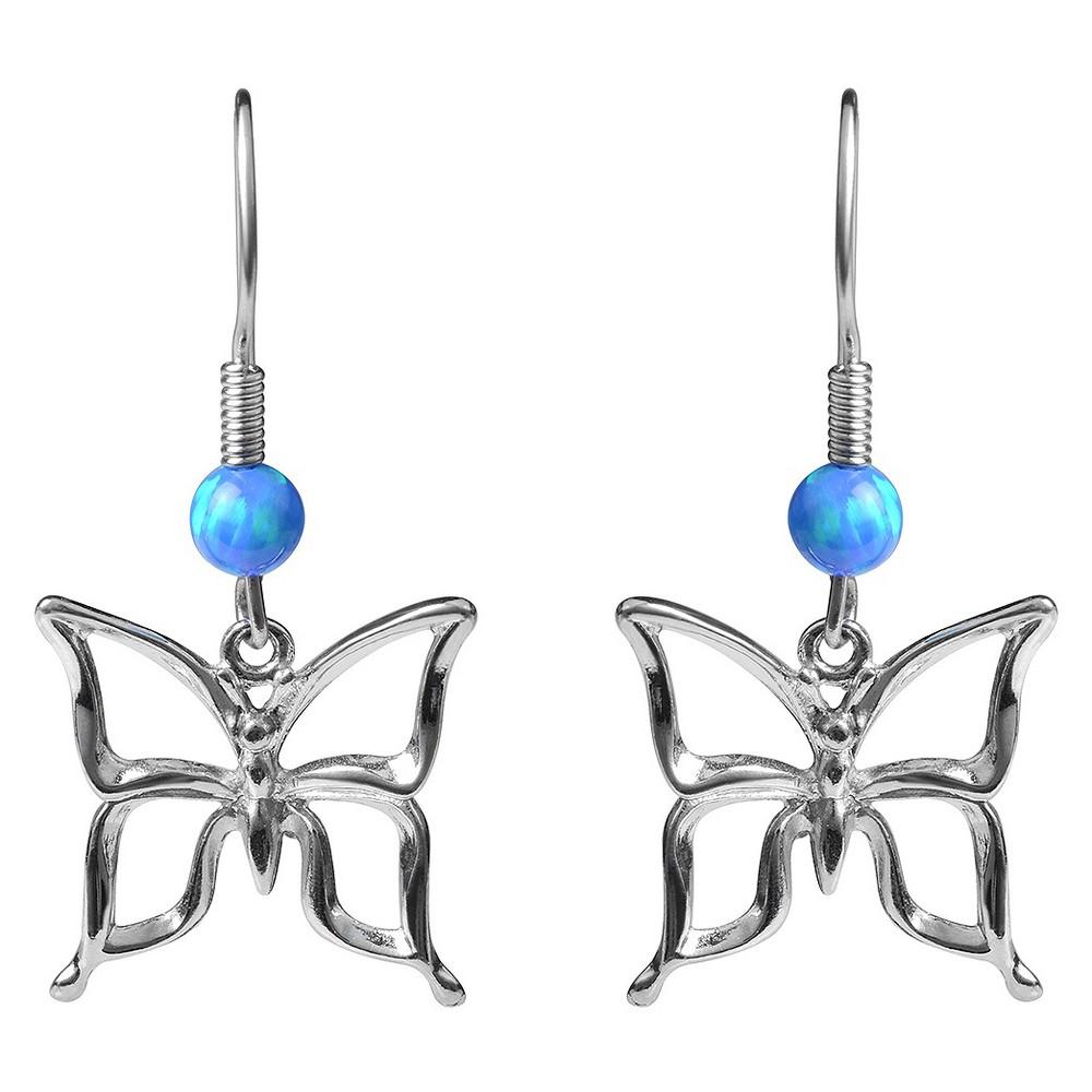 5/8 CT. T.W. Round-cut Faux Opal Butterfly Dangle Bead Set Earrings in Sterling Silver - Blue, Girl's