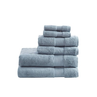 6pc Turkish Bath Towel Set Blue