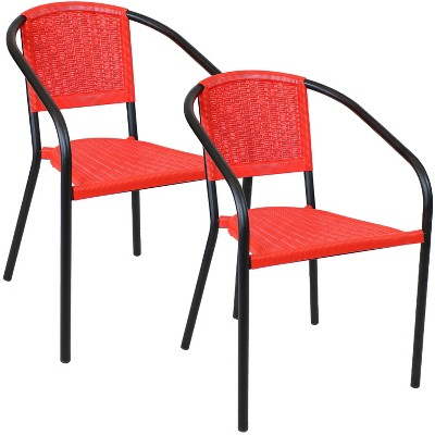 Aderes 2pk Steel and Polypropylene Outdoor Arm Chair - Black and Red - Sunnydaze Decor