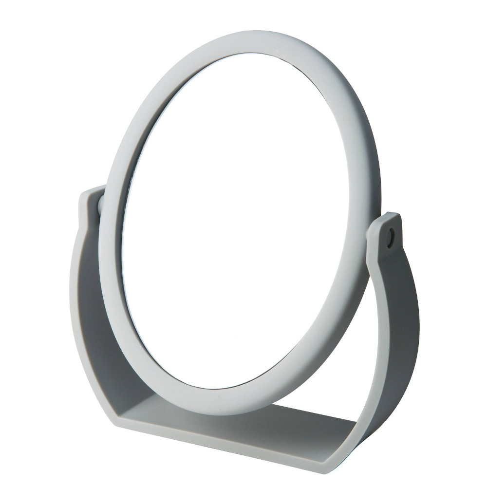 "Image of ""8"""" Vanity Rubberized Mirror 1X-10X Magnification Gray - Home Details"""