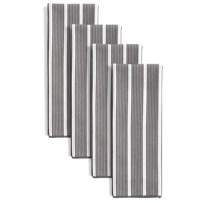 """8pk 15""""X28"""" Rainbow Stripe Kitchen Towels Gray - Town & Country Living"""