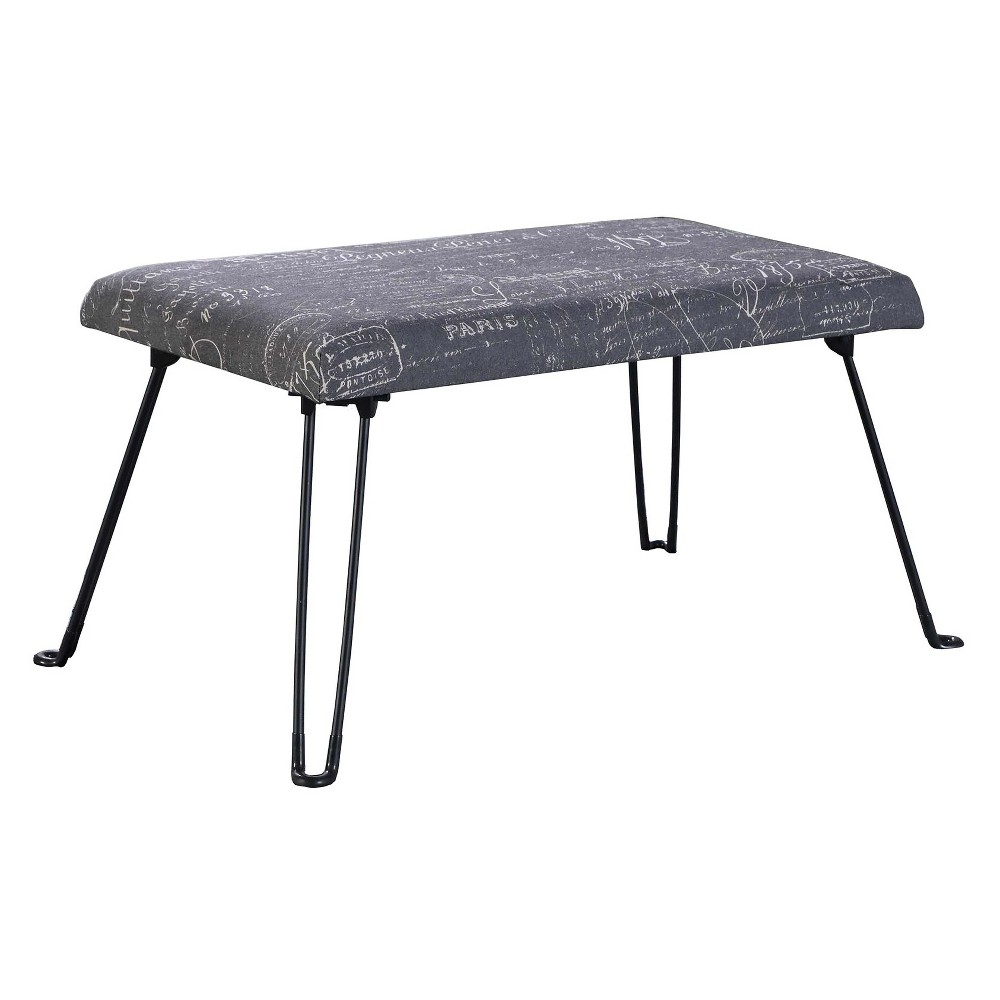 Image of Backless Seat With Foldable Legs - Old World Gray - Ore International