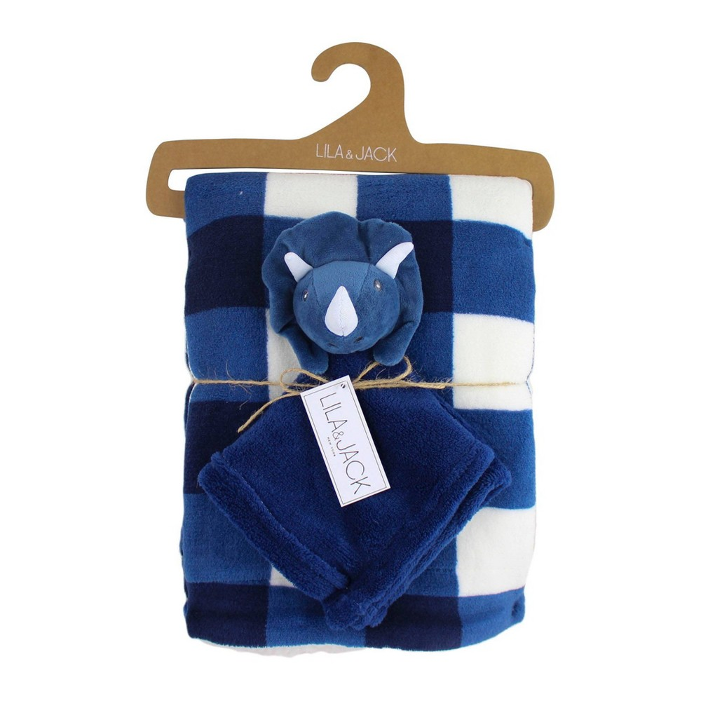 Image of Lila and Jack Navy and White Gingham Print Fleece Kids Throw with Navy Dino Lovey