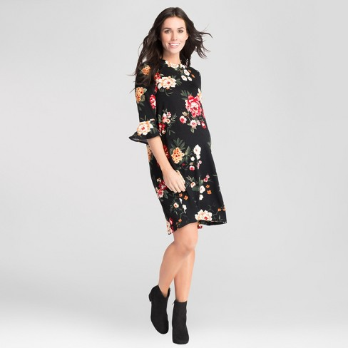 1e2efa3552997 Maternity Floral Print Bell Sleeve Swing Dress - Expected by Lilac - Black