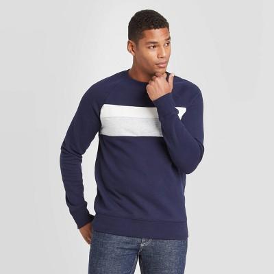 Men's Colorblock Regular Fit Crew Fleece Sweatshirt - Goodfellow & Co™ Navy