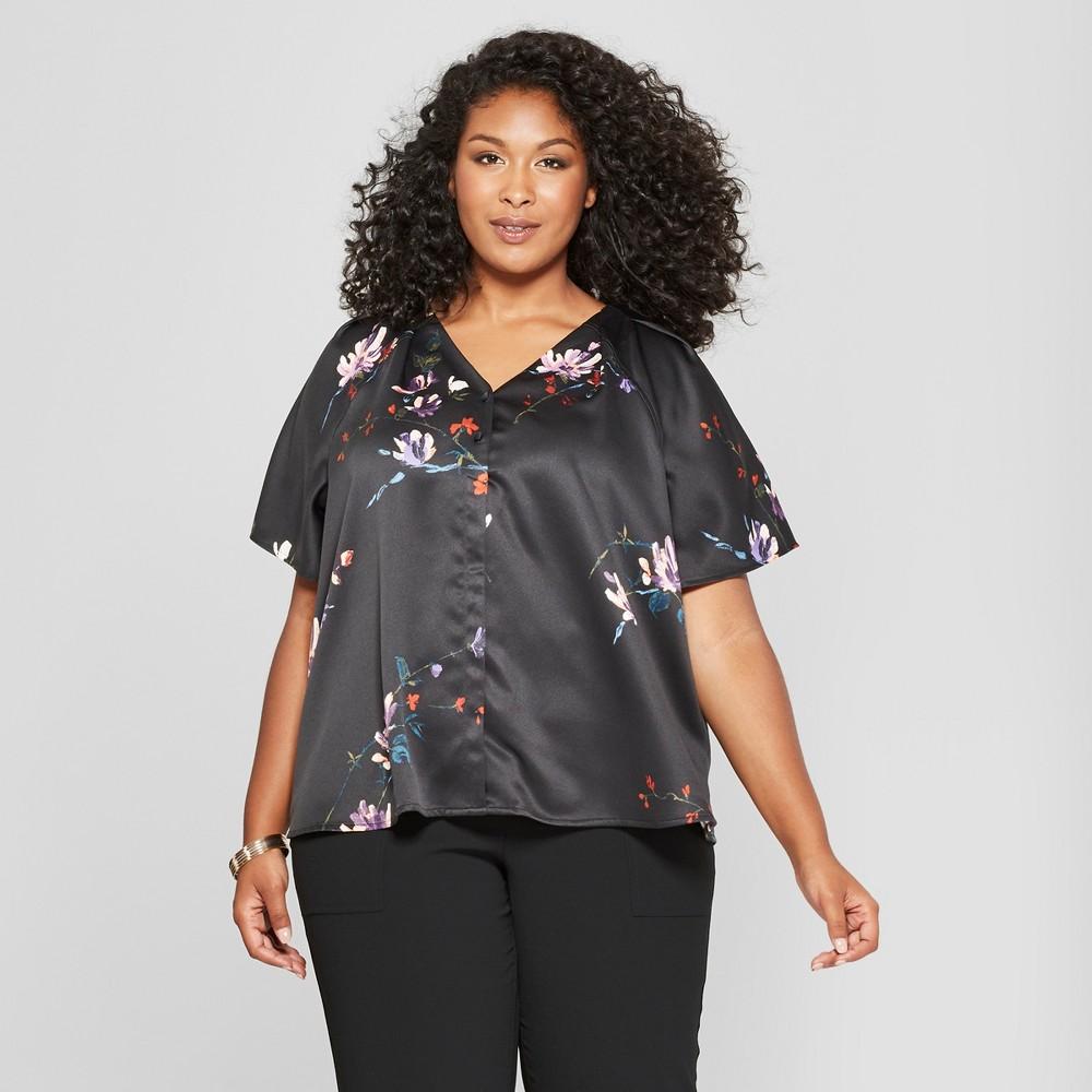 Women's Plus Size Floral Print Button Front Short Sleeve Blouse - Ava & Viv Black 1X