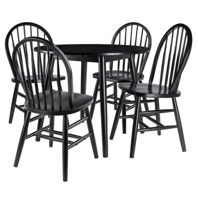 5pc Moreno Drop Leaf Dining Set with Chairs Black - Winsome