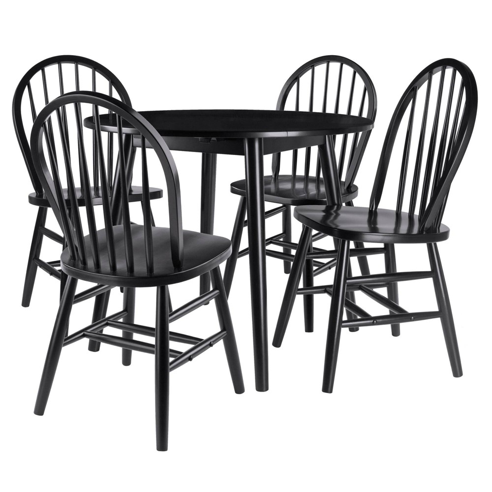 Image of 5pc Moreno Drop Leaf Table with Chairs Black - Winsome