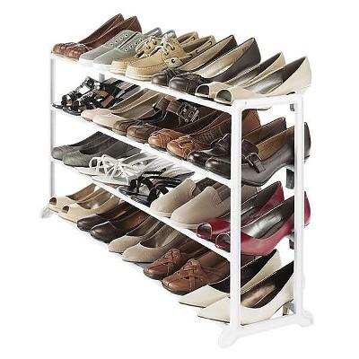 Whitmor 20 Pairs Capacity Floor Shoe Stand  White 67803139WHT