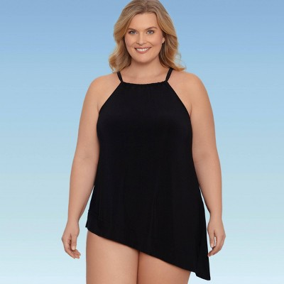 Women's Plus Size Slimming Control Asymmetric Hem Tankini Top - Dreamsuit by Miracle Brands