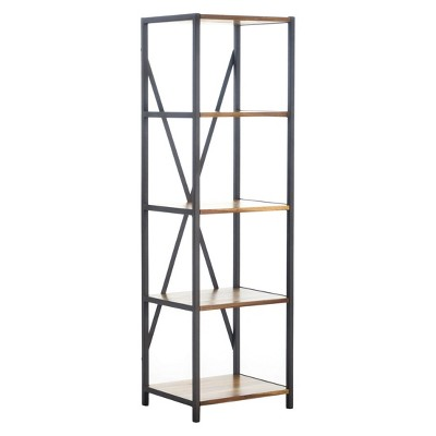"""Roney 17"""" Bookcase with Rustic Metal Finished Iron Accents - Natural - Christopher Knight Home"""