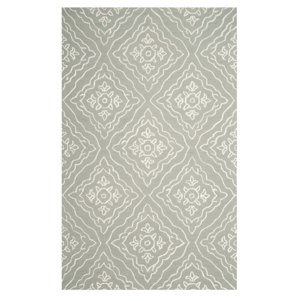 Slate/Ivory (Grey/Ivory) Floral Tufted Area Rug 5'X8' - Safavieh