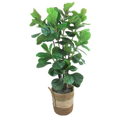 "66"" Artificial Fiddle Leaf Fig Tree in Round Basket - LCG Florals"