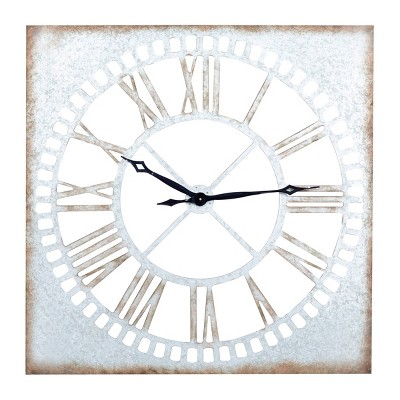 """36"""" x 36"""" Extra Large Galvanized Metal Wall Clock with Roman Numerals - Olivia & May"""
