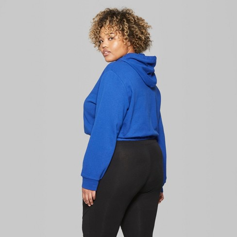 30ca35a360dc6 Women s Plus Size Cropped Hoodie with Contrast Ties - Wild Fable™  Sapphire Black White 2X   Target