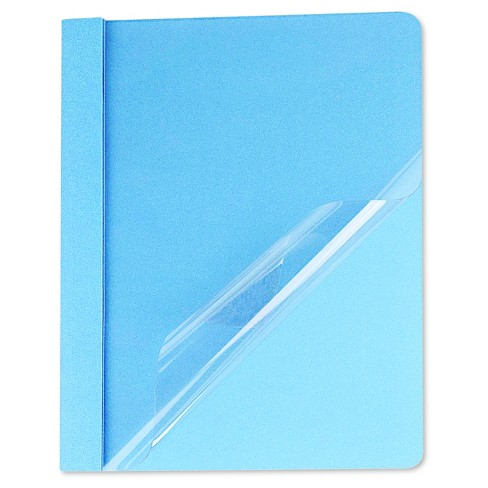 Universal® Clear Front Report Cover, Tang Fasteners, Letter Size, Light Blue, 25/Box - image 1 of 1