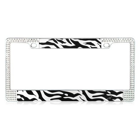 MYBAT Black and White Zebra Design License Plate Frames with Double Row Shining White Crystals - image 1 of 3