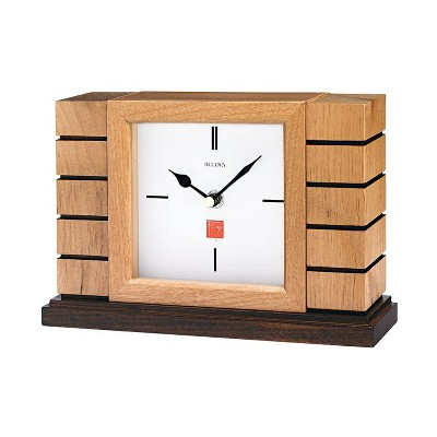 Bulova Clocks B1659 Usonian II Mantel Clock with Protective Glass Lens and Engraving Plate, Natural Finish with Walnut Stain Base