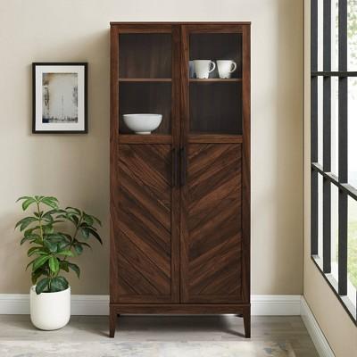 "68"" Boho Modern Fusion Tall Liquor Cabinet Metal And Wood - Saracina Home : Target"