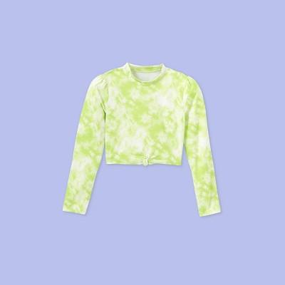 Girls' Long Sleeve Tie-Dye Rash Guard Swim Shirt - More Than Magic™ Lime