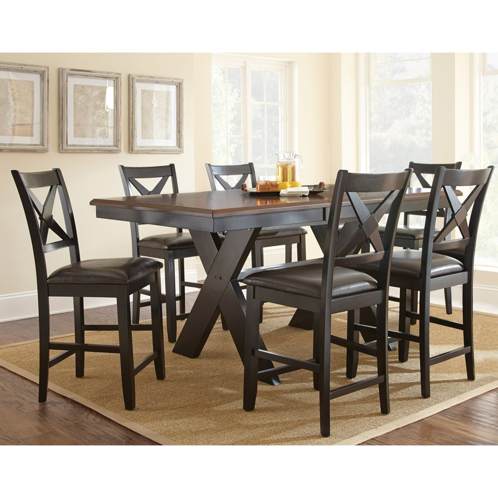 7pc Vera Counter Height Dining Set Oak/Black (Brown/Black) - Steve Silver