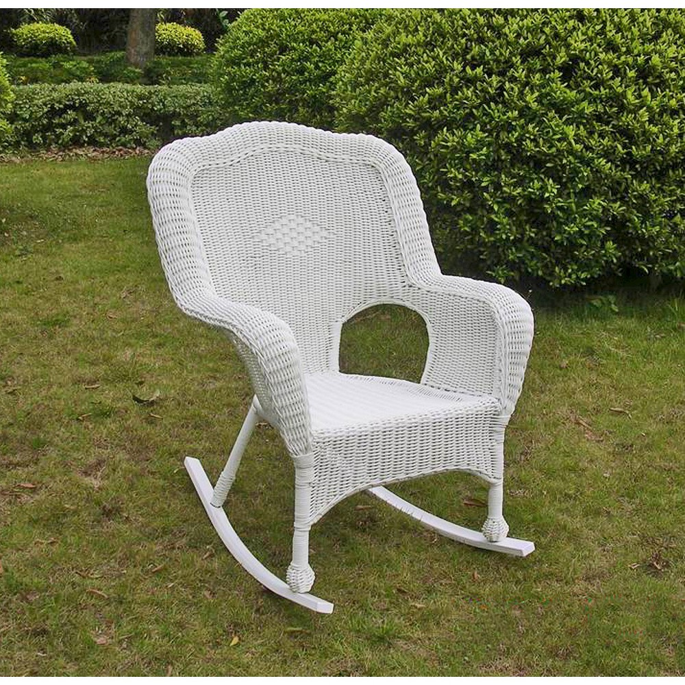 Chelsea Wicker Patio Rocker - White - International Caravan
