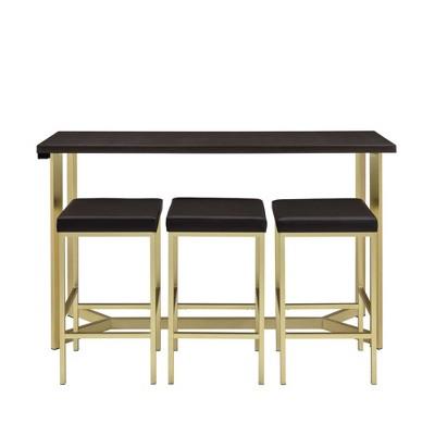 Melrose Multipurpose Bar Dining Table Set Espresso/Gold - Picket House Furnishings
