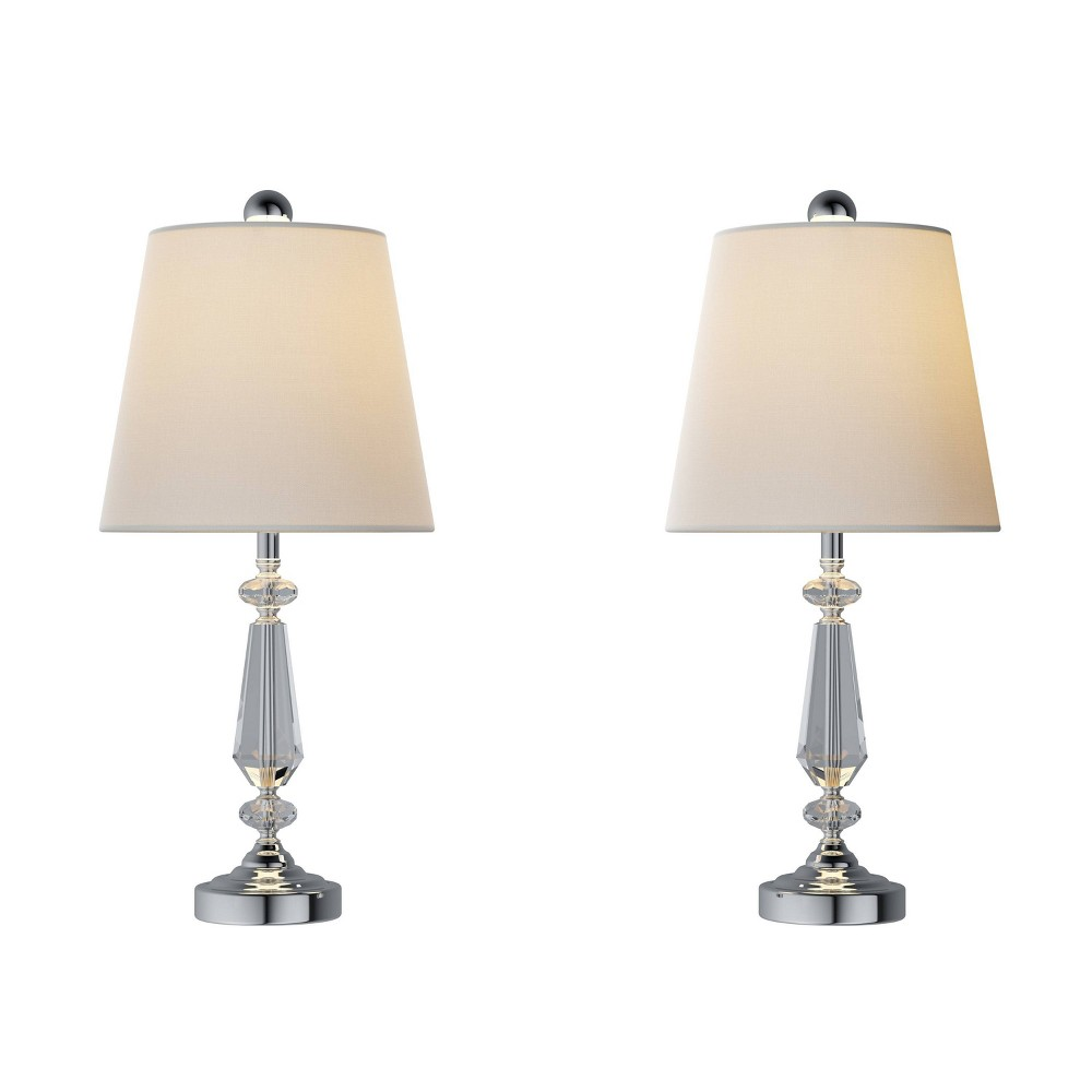 Crystal Candlestick Lamps Set Of 2 Faceted Lights