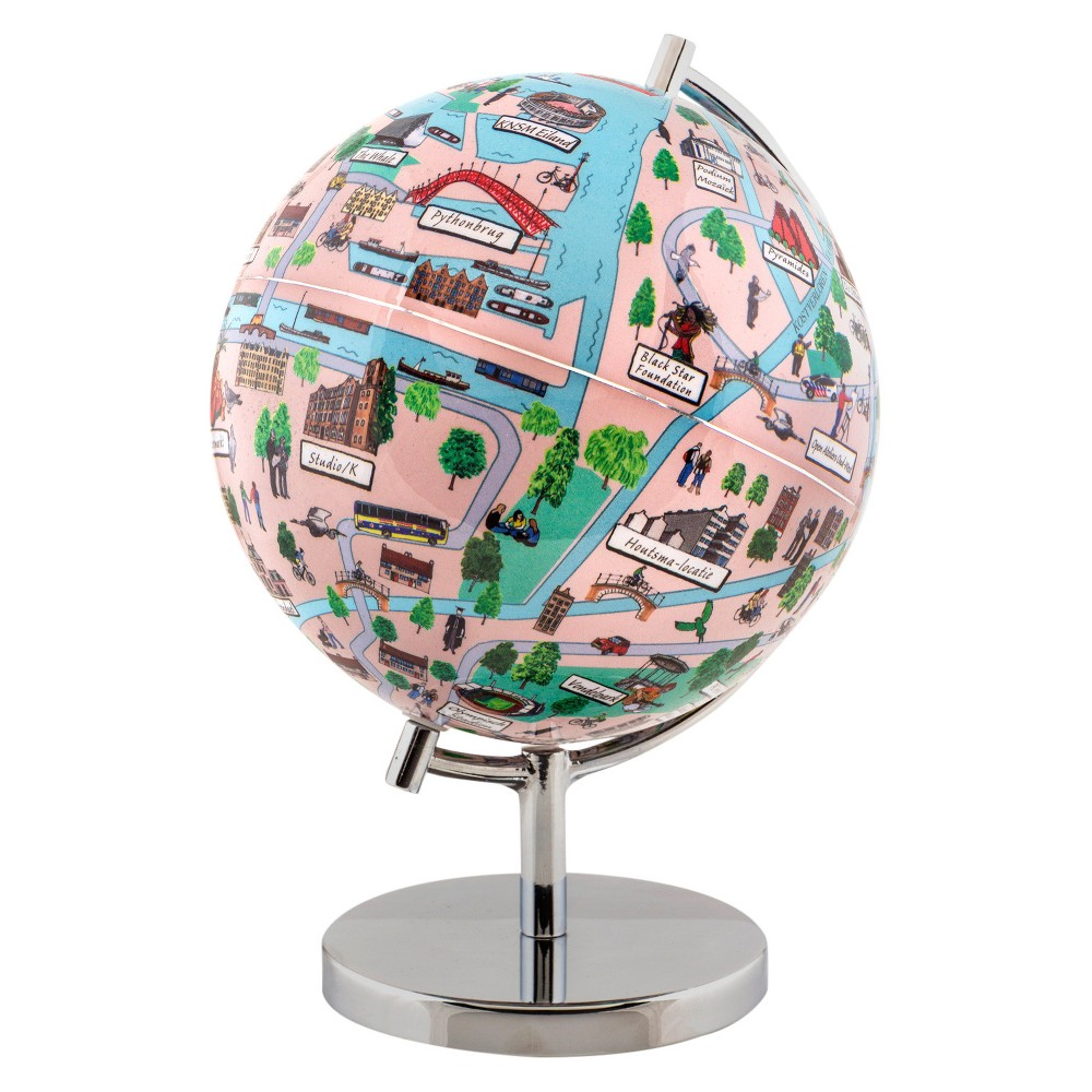 Globee Amsterdam 9 Illustrated Globe, Multi-Colored See Amsterdam at night in the form of an illuminated globe. The Amsterdam Night Light Globe is 9-inches in diameter and comes with a chrome silver stand. The globe depicts all the major landmarks and tourist sites of the city as well as the major streets and some of the famous characters associated with it and includes a 16 page informational booklet. Makes a wonderful gift or addition to any room. This globe is illuminated using Led lights within the globe and powered by Aaa batteries which are not included. You will never need to replace a light bulb! Color: Multi-Colored. Age Group: Adult.