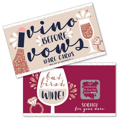Big Dot of Happiness Vino Before Vows - Winery Bridal Shower or Bachelorette Party Game Scratch Off Dare Cards - 22 Count