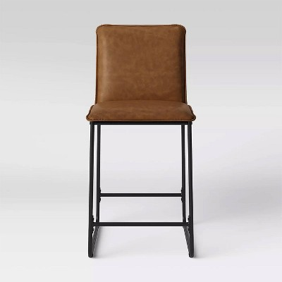 Upholstered Counter Stool with Metal Frame Camel Faux Leather - Room Essentials™
