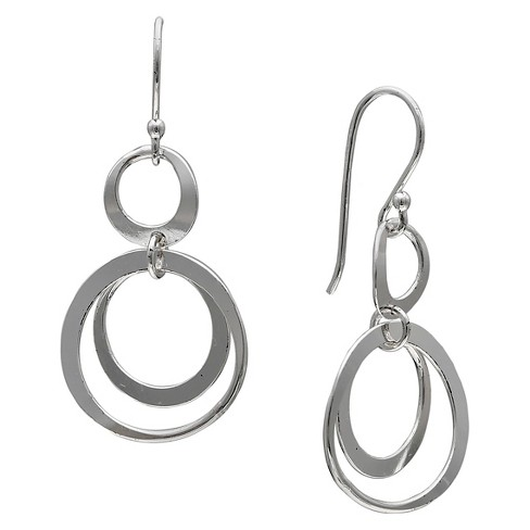 Women's Polished Double Circle Drop Earrings in Sterling Silver - Silver (35mm) - image 1 of 1