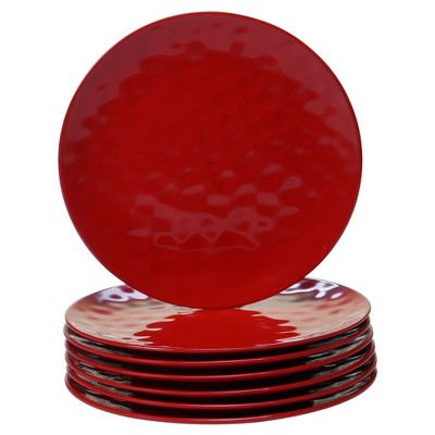 "Certified International Solid Color Melamine Dinner Plates 11"" Red - Set of 6"