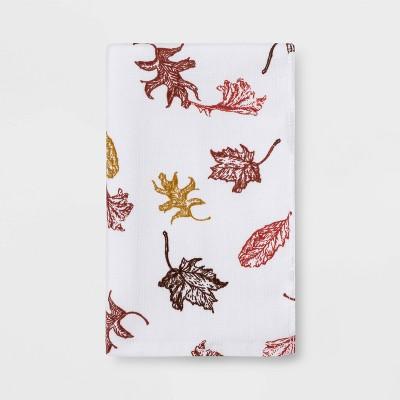 Flat Woven Swirling Leaves Hand Towel White - Threshold™