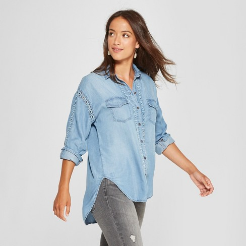 Women's Long Sleeve Chambray Button-Down - Knox Rose™ Indigo - image 1 of 2