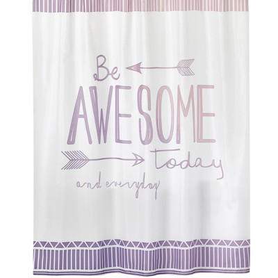 """mDesign """"Be Awesome"""" - Easy Care Fabric Shower Curtain, 72"""" x 72"""""""