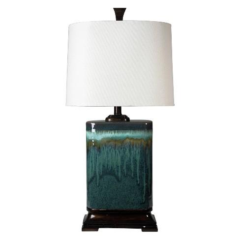 Carolina Multitone Blue Glaze Ceramic Table Lamp With Oatmeal Fabric