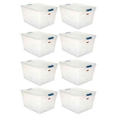 Rubbermaid Cleverstore Home/Office Organization 71 Quart Latching Plastic Storage Tote Container Box Bin with Lid, Clear (8 Pack)